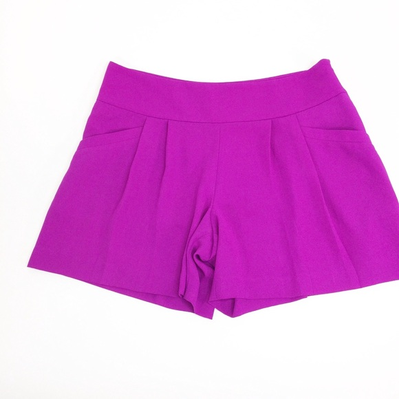 LOFT Pants - Loft High Waisted Fuchsia Pleated Shorts